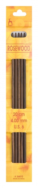 Pony Nadeln, Nadelspiel Rosewood, Nadellänge 20 cm, Gr. 4.0, #36810