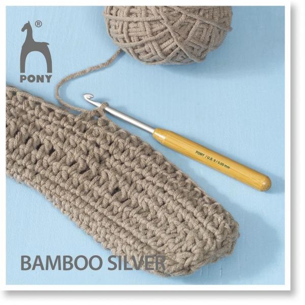 Pony Nadeln Häkelnadel Bambus silver Gr. 4.5
